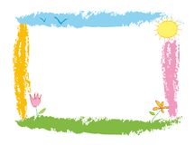 Bright frame. Clolorful and simple border. It seems a nice infant drawing. Vector illustration, eps file available Stock Images