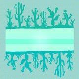 Bright frame of cacti. Mosaic style. Exotic design stock illustration