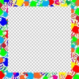 Bright frame with copy space and multicolored handprints. Bright rainbow frame with empty copy space for text or image and multicolored handprints border  on Royalty Free Stock Images