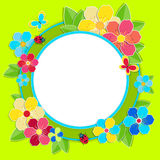 Bright frame with flowers, butterflies and ladybug Stock Photography