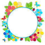 Bright frame with flowers, butterflies and ladybug. Stock Image