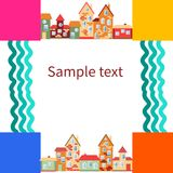 Bright frame with houses and rivers. Place for your text. Vector illustration Stock Photo