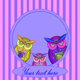Bright Frame with owl in vector Royalty Free Stock Photo