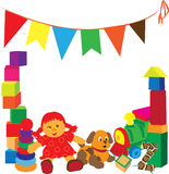 Bright frame with toys Royalty Free Stock Photography