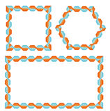 Bright frames with geometric pattern. Framework of interwoven orange and blue stripes royalty free illustration