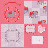 Bright frames. Bright pattern with elephant and roses royalty free illustration