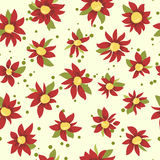 Bright freehand seamless floral pattern. Bright seamless pattern with red flowers and green leaves Royalty Free Stock Images