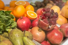 Bright, fresh fruits. Creative background. Royalty Free Stock Images