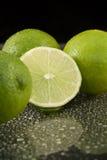 Bright fresh green limes on dark background Stock Image