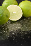 Bright fresh green limes on dark background Royalty Free Stock Images