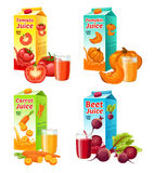 Bright Fresh Vegetable Juices Set. With tomato pumpkin carrot beet full glasses and carton packages isolated vector illustration Stock Photography