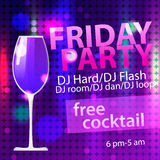 Bright Friday party free cocktail flyer template Stock Photos