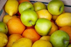 Green apples, oranges and lemons. royalty free stock photography