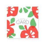 Bright fruit card with red apples and green leaves. Vegetarian nutrition. Organic and tasty food. Abstract vector design royalty free illustration