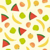Bright fruit seamless pattern. Vector EPS 10 illustration Stock Images