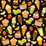 Bright fruit and sweet seamless pattern on black Stock Images