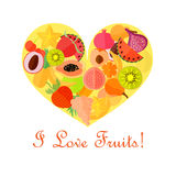 Bright Fruits in the Heart Shape. Bright Numerous Fruits in the Yellow Heart Shape and Text on the White Background. Vector EPS 10 Stock Photo