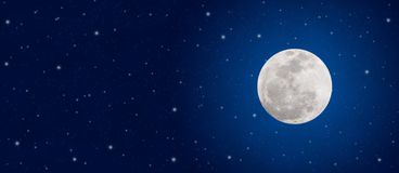 Bright Full Moon And Twinkle Stars In Dark Blue Night Sky Banner Stock Photography