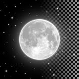 Bright full moon in the clear night sky. Bright full moon in the clear night sky and on transparent background. Realistic full moon vector illustration. Selena royalty free illustration