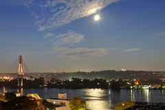 Bright full moon over river and city Royalty Free Stock Photo