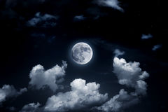 Bright full moon in the starry sky Stock Photos
