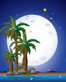 A bright fullmoon and the blue sea Royalty Free Stock Image