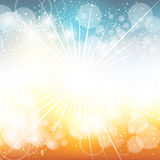 Bright Fun Background. A bright blue and orange abstract background with exploding rays of light Stock Photos