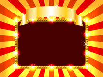 Bright and fun billboard. Bright and fun sunburst, stripe and lights billboard or placard with gold ribbon above, ready for an announcement Stock Photo
