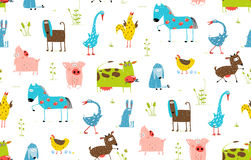 Bright Fun Cartoon Farm Domestic Animals Seamless Stock Photography