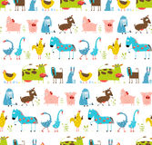 Bright Fun Cartoon Farm Domestic Animals Seamless Stock Photo