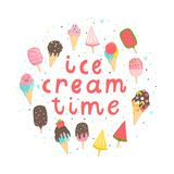 Bright and fun summer poster. Bright card with various ice creams. Vector collaction Royalty Free Stock Photography