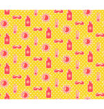 Bright fun summer seamless pattern with sunscreen cream sun and. Glasses on yellow background Royalty Free Stock Image