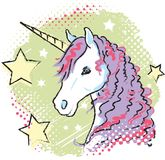 1980s Style Unicorn Bust Vector Graphic. Bright and fun unicorn graphic in 1980s style and colors. Trendy for Millennial girls, tweens, and teens vector illustration