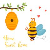 Bright funny cartoon bee and beehive. Hanging on the tree Stock Photography
