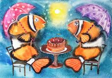 Bright funny fish with umbrellas Stock Images