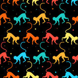 Bright funny monkeys seamless pattern background stock illustration