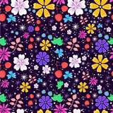 Bright and funny seamless floral pattern on dark violet background Stock Photos
