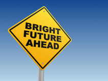 Bright future ahead road sign concept 3d illustration Stock Photos