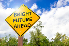 Bright Future Ahead. Bright Future Yellow Road Sign. Conceptual Sign Royalty Free Stock Photography