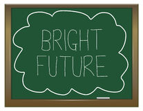 Bright future concept. Illustration depicting a green chalkboard with  BRIGHT FUTURE written on it in white Stock Image