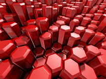 Bright Futuristic Red Hexagon Blocks Background. 3d Render Illustration Royalty Free Stock Image