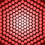 Bright Futuristic Red Hexagon Blocks Background. 3d Render Illustration Royalty Free Stock Photography