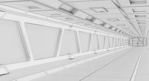 Bright futuristic spaceship corridor 3D rendering Royalty Free Stock Images