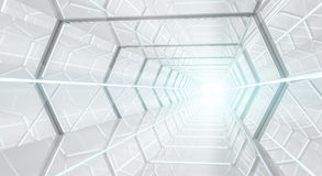 Bright futuristic spaceship corridor 3D rendering. Bright futuristic spaceship corridor with modern lights 3D rendering Stock Photo