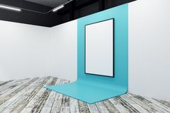 Bright gallery with blank poster. Bright gallery interior with blank poster. Advertising, exhibition concept. Mock up, 3D Rendering Royalty Free Stock Images