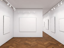 Bright gallery with blank posters. 3d rendering Royalty Free Stock Image