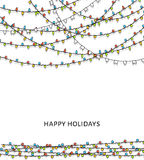 Bright garlands. Background with doodle garland. New Year's design. Bright garlands. A background with bright garlands. New Year's design. Christmas bulb Royalty Free Stock Photo