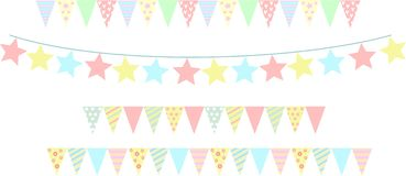 Festive garlands for the day of birth or Christmas. Royalty Free Stock Photography