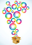 Bright gears of different colors Stock Image
