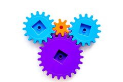 Bright gears for great technology of team work and correct mechanism on white background top view Royalty Free Stock Photos